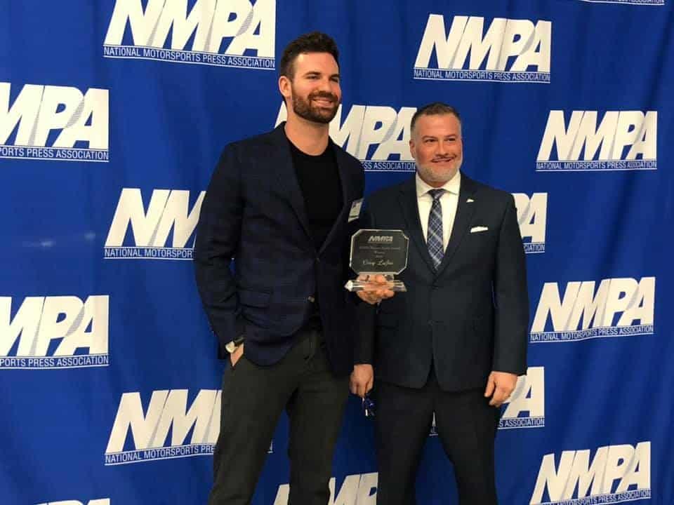 Corey LaJoie receives the Pocono Spirit award.